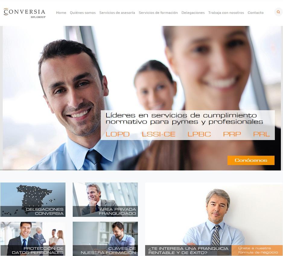 Captura de pantalla de la web de Conversia