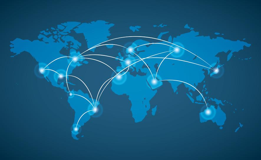 Mapa del mundo con diferentes puntos conectados para el intercambio de la protección de datos